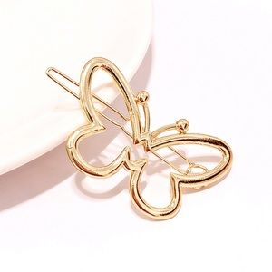 🎉 New Gold Butterfly Hair Clip Accessory